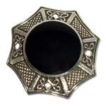 2338 - Silverbrosch Keltisk med svart onyx sten