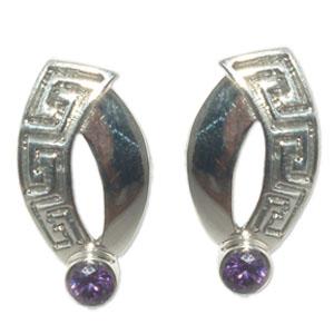 3087-1  -  Silverörhänge  Grekiska  med  CZ Lila sten.